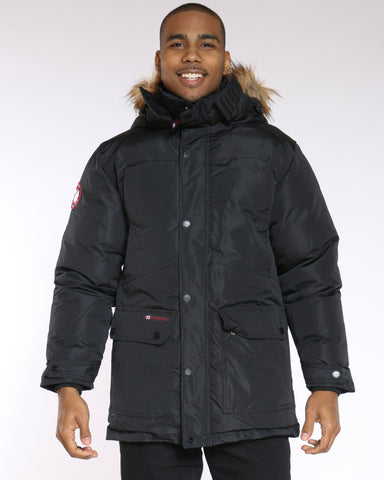 Men's Canada Long Front Pocket Fur Hood Jacket - Black-VIM.COM