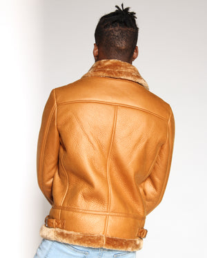 VIM Shawn Shearling Fur Jacket - Tan - Vim.com