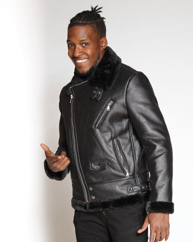 VIM Shawn Shearling Fur Jacket - Black - Vim.com