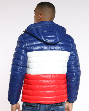 VIM Color Block Bubble Jacket - Navy White Red - Vim.com