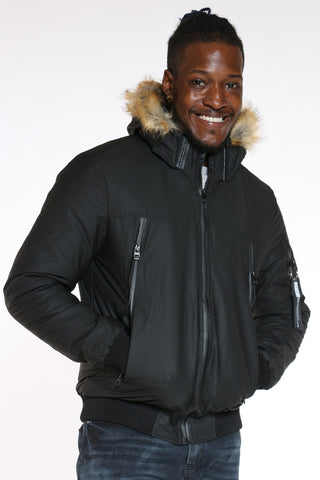 Men's Midweight Hood Jacket - Black-VIM.COM