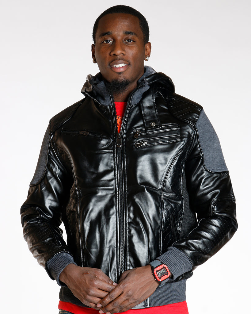 VIM Faux Leather Jacket - Black - Vim.com