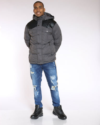 Men's Vlad Heavy Western Bomber Jacket - Charcoal Black-VIM.COM