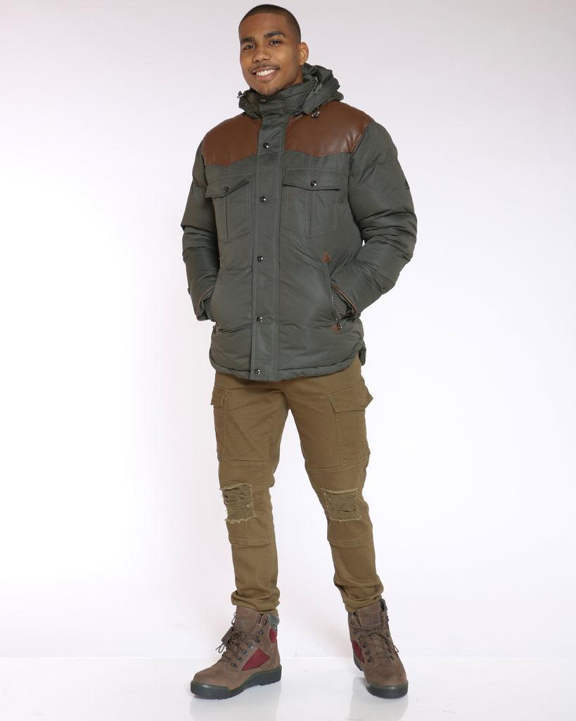 Vlad Heavy Western Bomber Jacket - Olive Brown