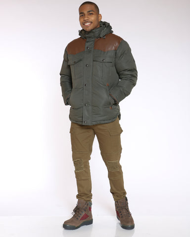 Men's Vlad Heavy Western Bomber Jacket - Olive Brown-VIM.COM