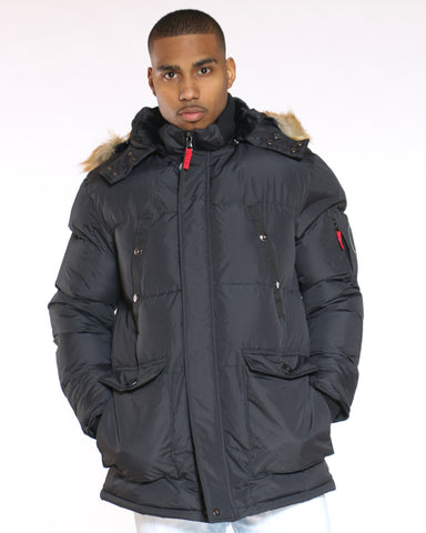 Men's Heavy Down Bubble Fur Hood Jacket - Black-VIM.COM
