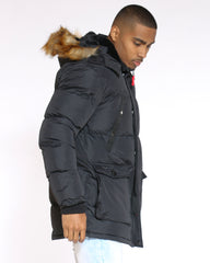 Heavy Down Bubble Fur Hood Jacket - Black