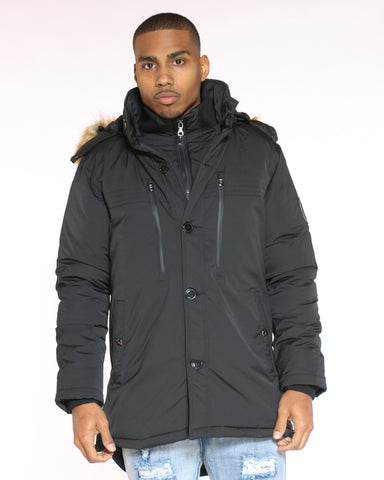 Men's Danny Heavy Parka Fur Hood Jacket - Black-VIM.COM