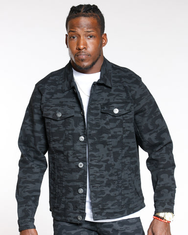 Black Camo Twill Ripped Jacket