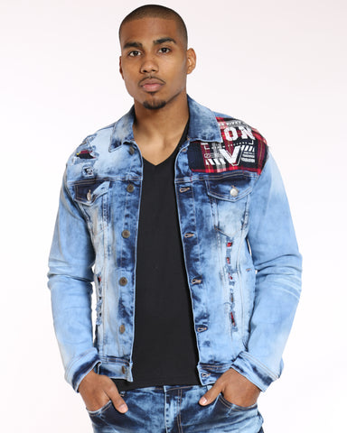 VIM Plaid Trim Ripped Denim Jacket - Blue - Vim.com