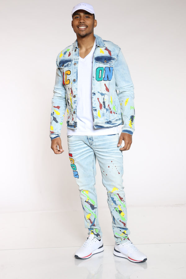 Men's Colorful Icon Denim Jacket - Denim