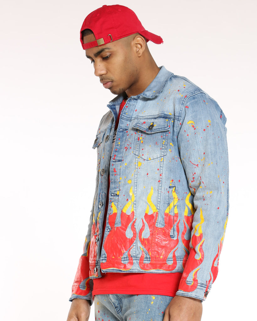Archie Ripped & Flamed Jacket - Light Blue