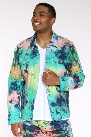Men's Tie Dye Paint Jacket - Blue-VIM.COM