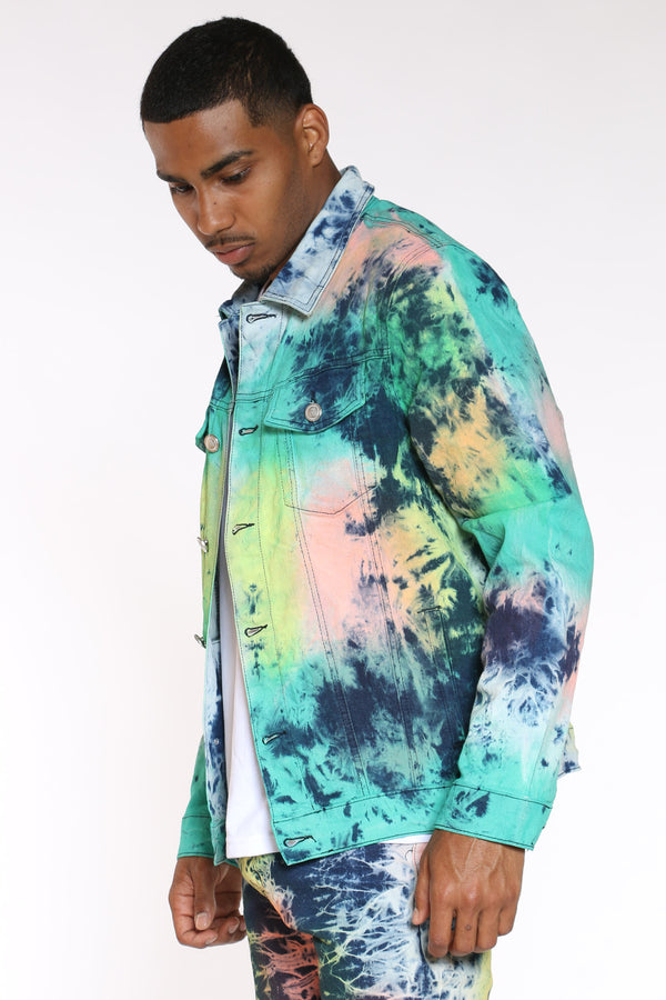 Men's Tie Dye Paint Jacket - Blue