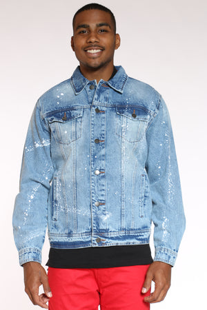 Men's Savage Box Paint Splatter Jacket - Blue-VIM.COM