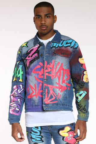 Men's Graffiti Jacket - Blue-VIM.COM