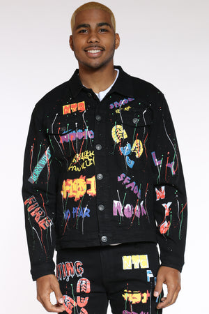 Men's Paint Splatter Graffiti Jacket - Black-VIM.COM