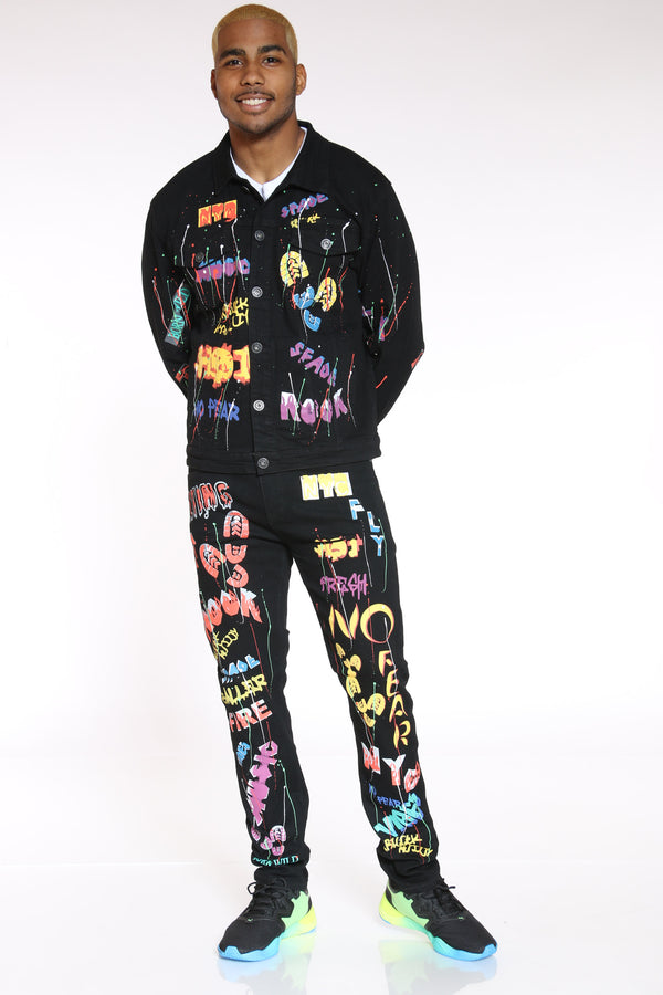 Nothing Can Stop Me Graffiti Jacket - Black