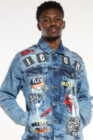 Men's Icon Patches Hustle Jacket - Light Blue-VIM.COM