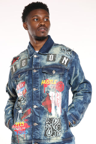 Men's Icon Patches Hustle Jacket - Dark Blue-VIM.COM