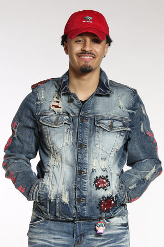 Men's Dexter Sequins Denim Jacket - Blue-VIM.COM