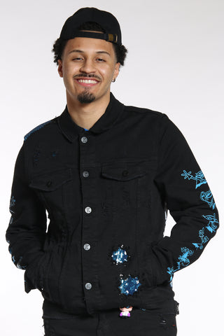Men's Dexter Sequins Denim Jacket - Black-VIM.COM