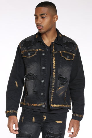 Men's Rhinestone & Gold Paint Jacket - Black-VIM.COM