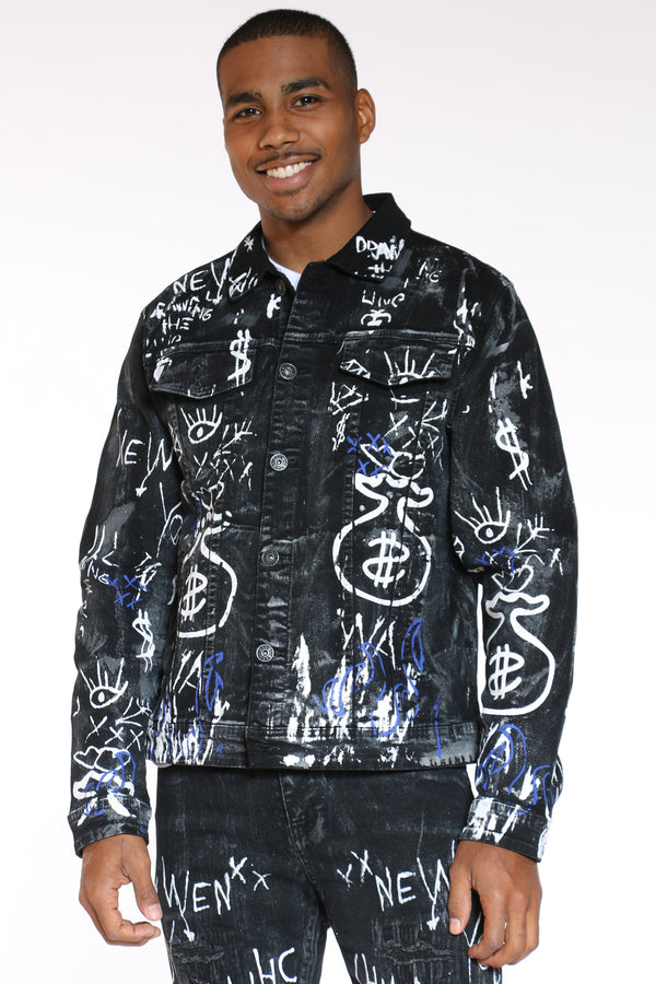 Men's Money Bag Glitter Graffiti Jacket - Black-VIM.COM