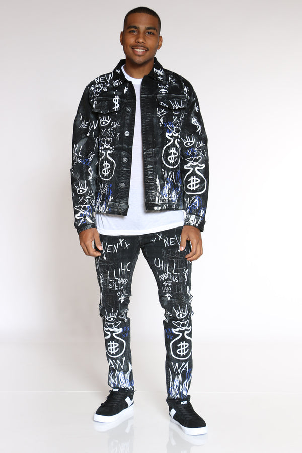 Men's Money Bag Glitter Graffiti Jacket - Black