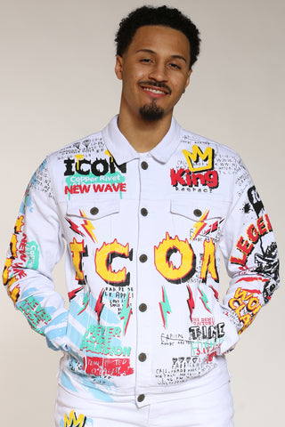 Men's Icon Drip Paint Jacket - White-VIM.COM