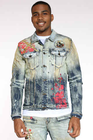 Men's Popeye Samurai Denim Jacket - Vintage-VIM.COM
