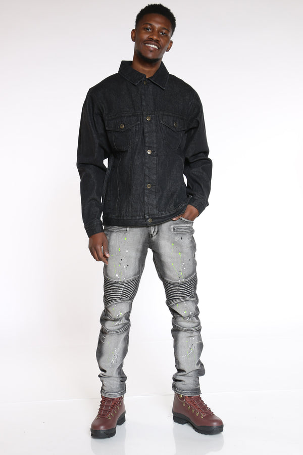 Men's Denim Jacket - Black-VIM.COM