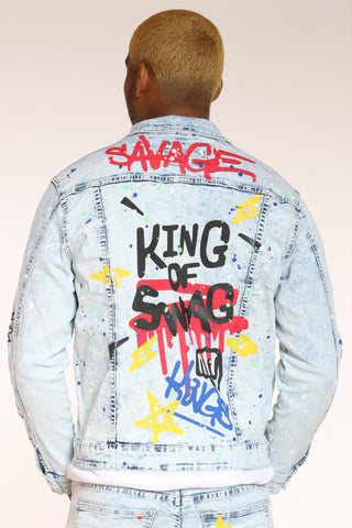 Emotions Running Graffiti Jacket - Ice Blue-VIM.COM