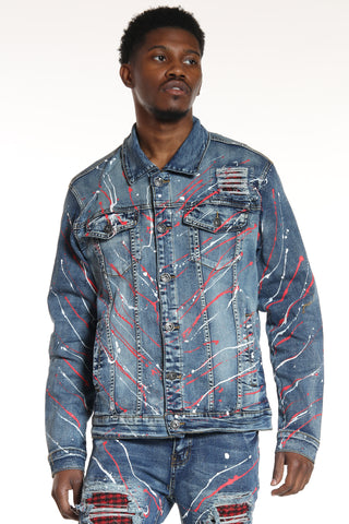 Men's Plaid Paint Splatter Jacket - Blue-VIM.COM