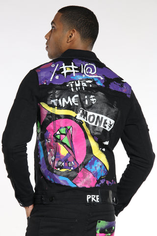 Men's Time Is Money Colorful Jacket - Black-VIM.COM