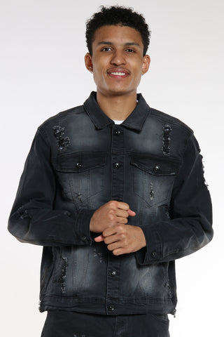 Men's Ripped & Repair Denim Jacket - Black-VIM.COM