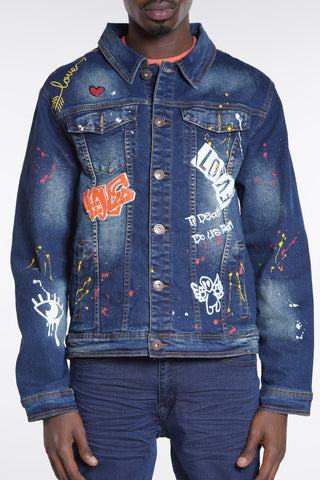 Til Death Do Us Apart Denim Jacket - Indigo-VIM.COM