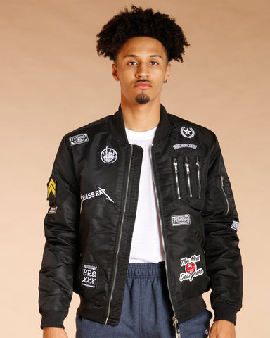 Men'S Bomber Jacket With Patches And Zips