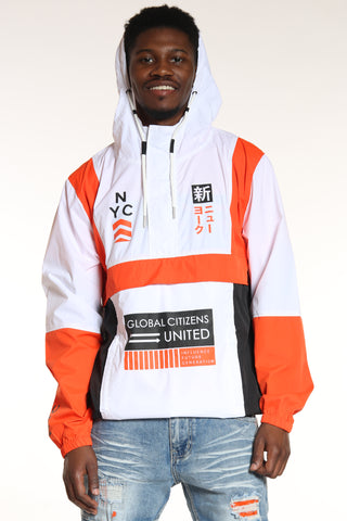 Men's Nyc Global Citizens Windbreaker Jacket - White Orange Black-VIM.COM