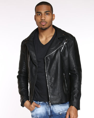 VIM Moto Trim & Zipped Pu Jacket - Black - Vim.com