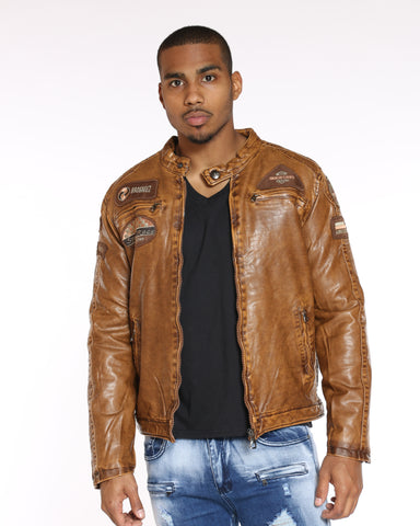 VIM Quilted Lining Washed Pu Jacket - Tan - Vim.com