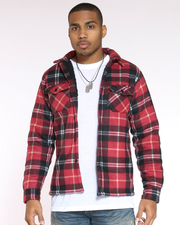 Men's Buffalo Plaid Sherpa Jacket - Black Red-VIM.COM