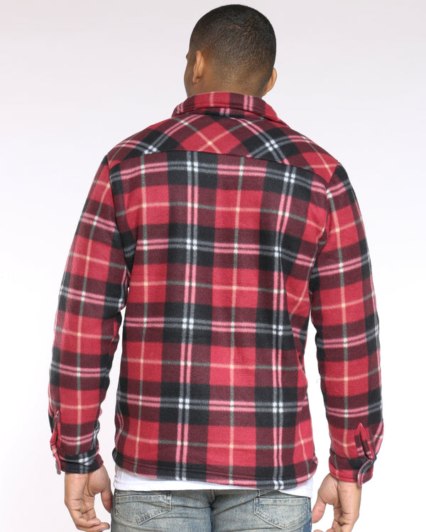 Men's Buffalo Plaid Sherpa Jacket - Black Red