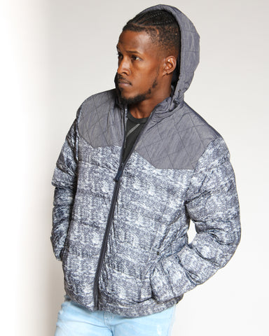 VIM Rico Marled Mid Weight Bubble Jacket - Navy - Vim.com
