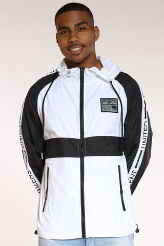 Men's Global Citizens Full Zip Windbreaker Jacket - White Black-VIM.COM