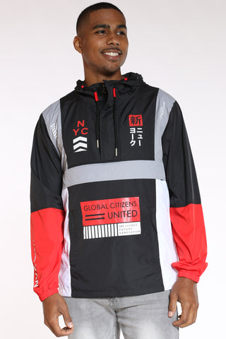 Men's Nyc Global Citizens Windbreaker Jacket - Black Red White-VIM.COM