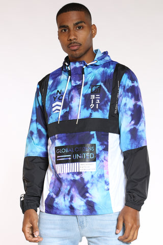 Men's Nyc Global Citizens Windbreaker Jacket - Tie Dye Blue Black-VIM.COM