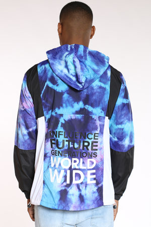 Men's Nyc Global Citizens Windbreaker Jacket - Tie Dye Blue Black