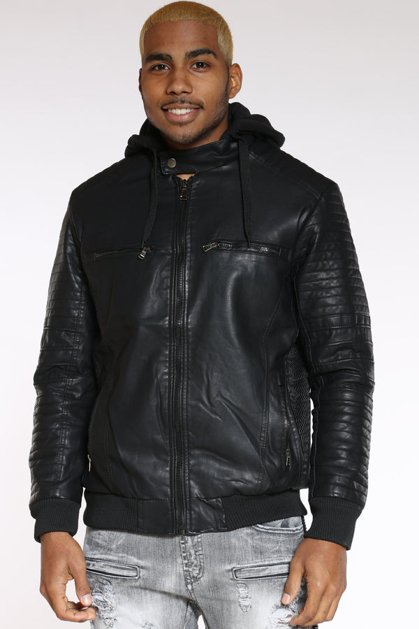 Men's Hooded Pu Moto Jacket - Black-VIM.COM