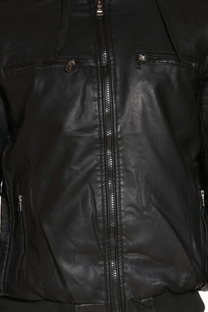 Men's Hooded Pu Moto Jacket - Black